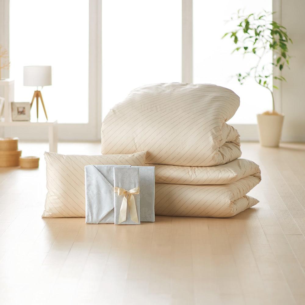 ベッド用シングル6点(お得な完璧セット(布団+カバー)) 色見本:(カ)ベージュ/花柄グレー (※写真は敷布団用になります)