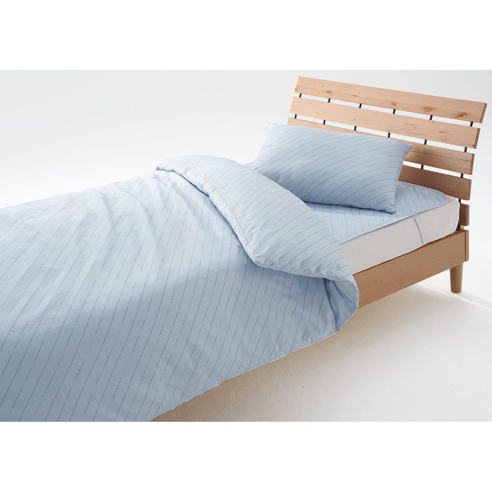 ダニゼロック 綿生地の布団シリーズ お得なベッドセット (ア)ブルー