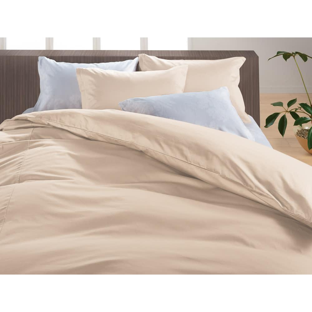 綿100%のダニゼロック お得なシーツ&カバーセット(敷布団用) オーガニックコットンタイプ (ク)ベージュ ※シリーズ使用例。お届けは枕カバー・敷布団カバー・掛けカバー(全て同色)になります