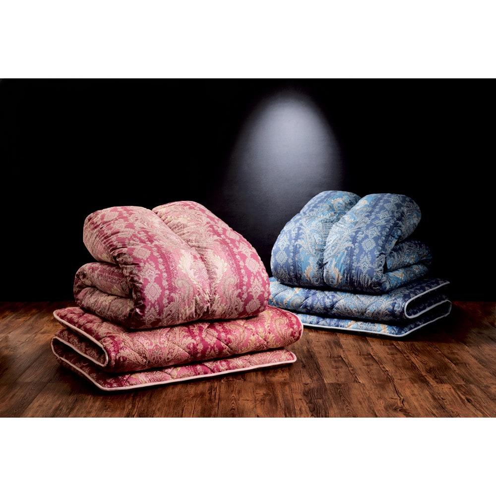 産地柄任せバーゲン羽毛掛け布団 お得な2枚組 左から(ア)ピンク系(イ)ブルー系