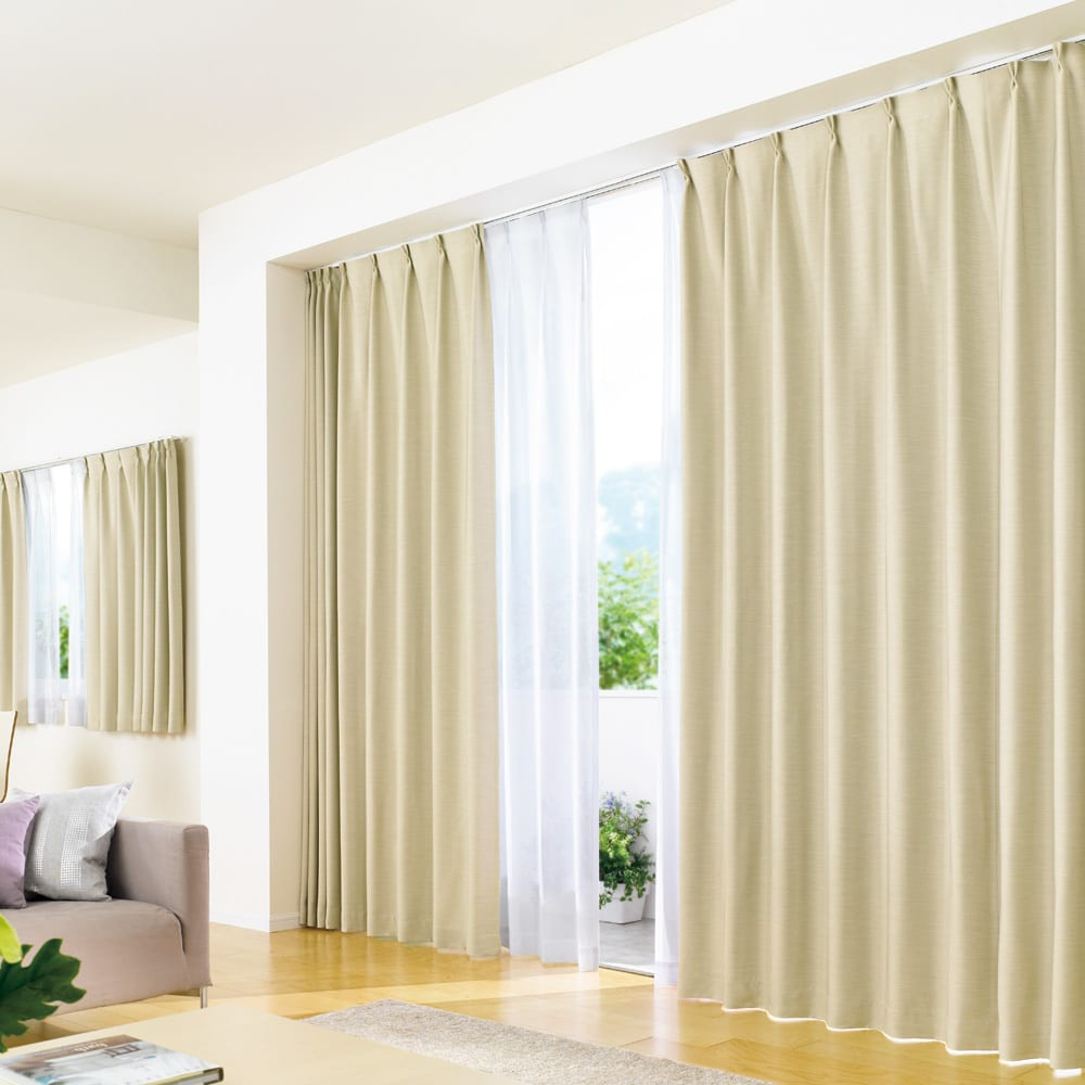 形状記憶加工多サイズ・防炎・1級遮光カーテン 100cm幅(2枚組) (イ)ライトベージュ ※レースカーテンは商品に含まれません。