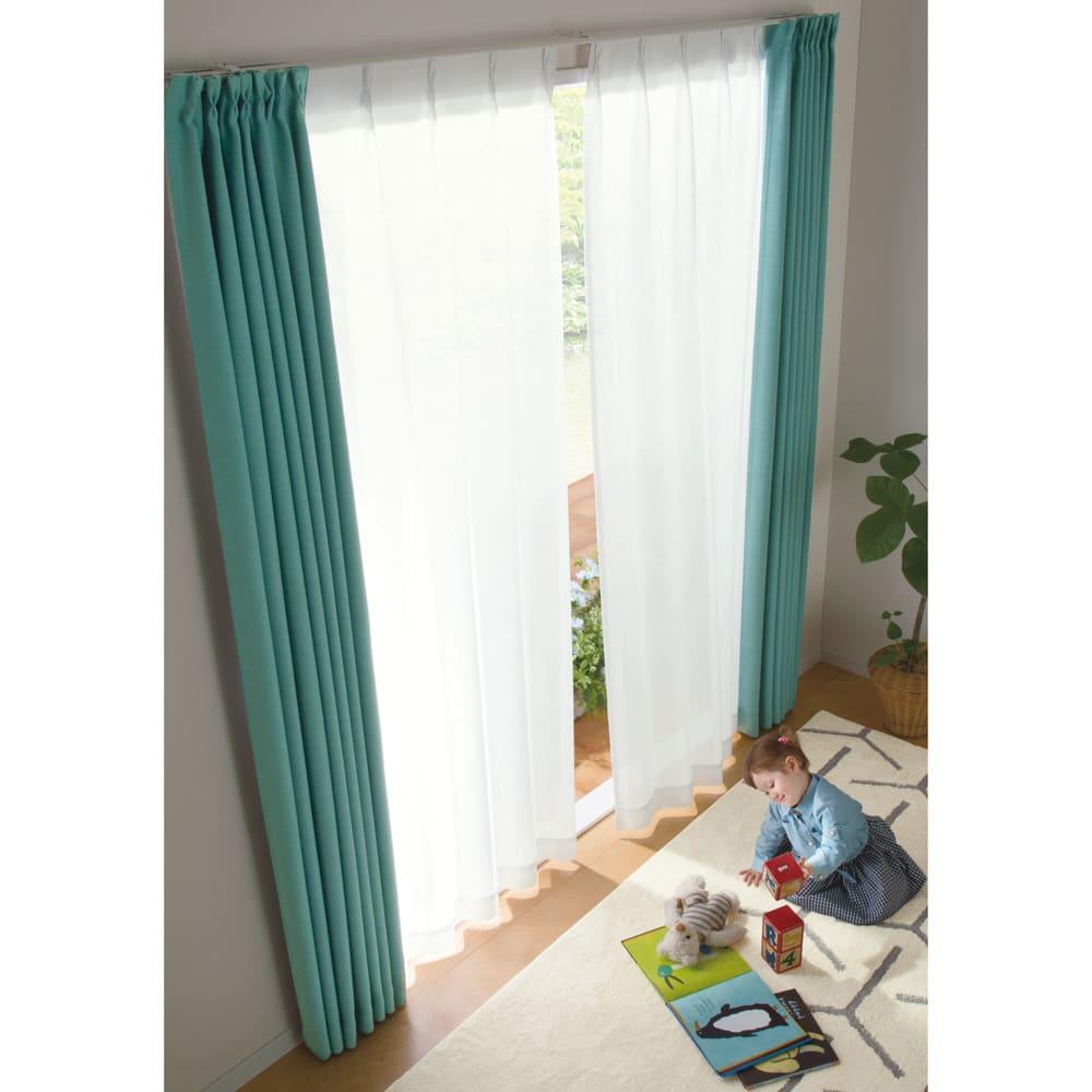 形状記憶加工多サイズ・防炎・UV対策レースカーテン 200cm幅(1枚組) コーディネート例(ア)ホワイト
