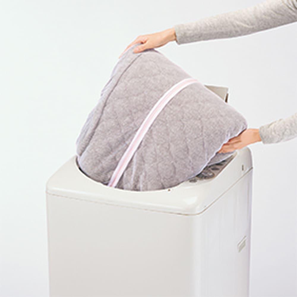 洗えるメランジボリュームラグ カバーはご家庭の洗濯機で丸洗いOK!洗濯ネット付き。