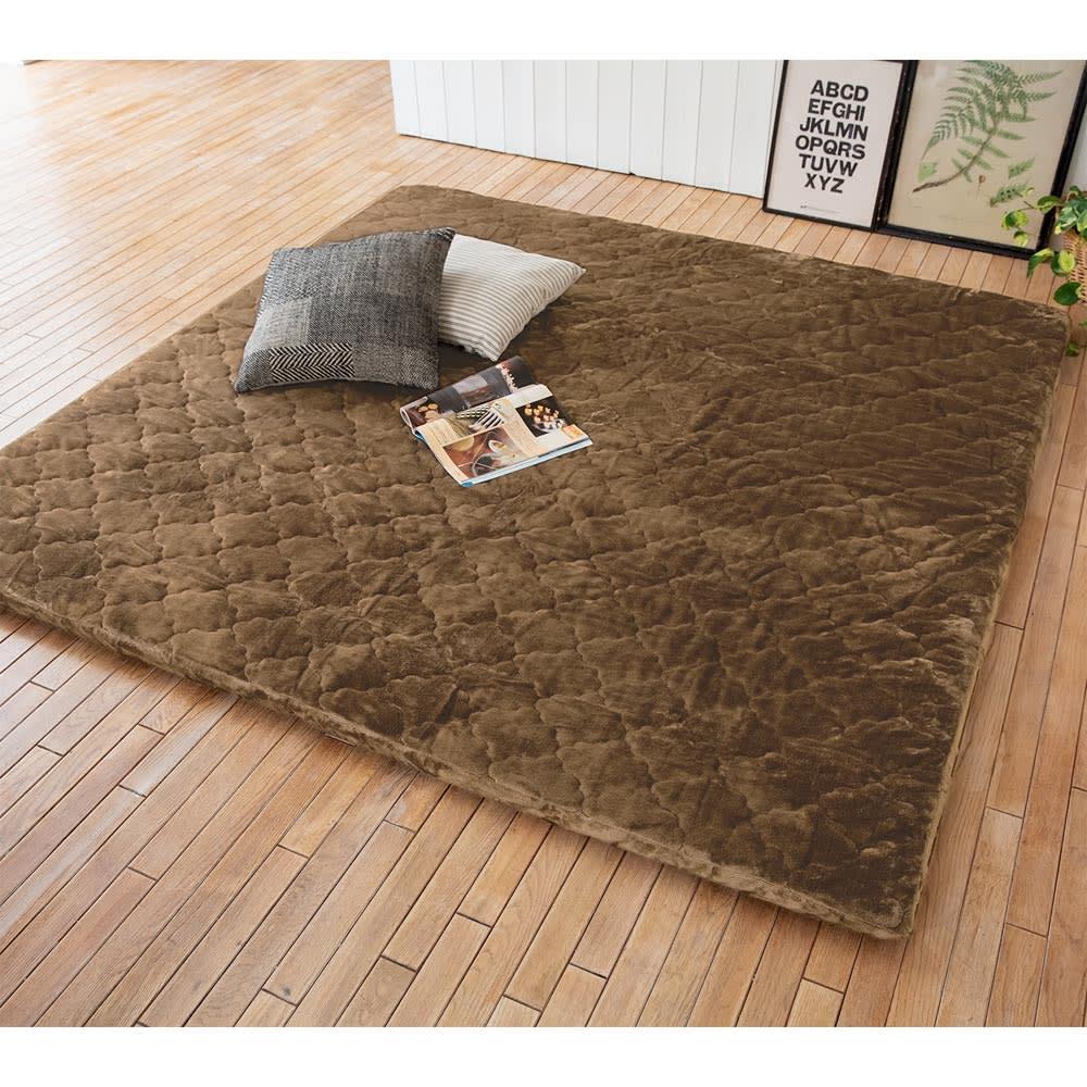 簡単取り外し洗える ボリュームラグ(カーペット) (ウ)ブラウン  (写真は約190× 190cm)