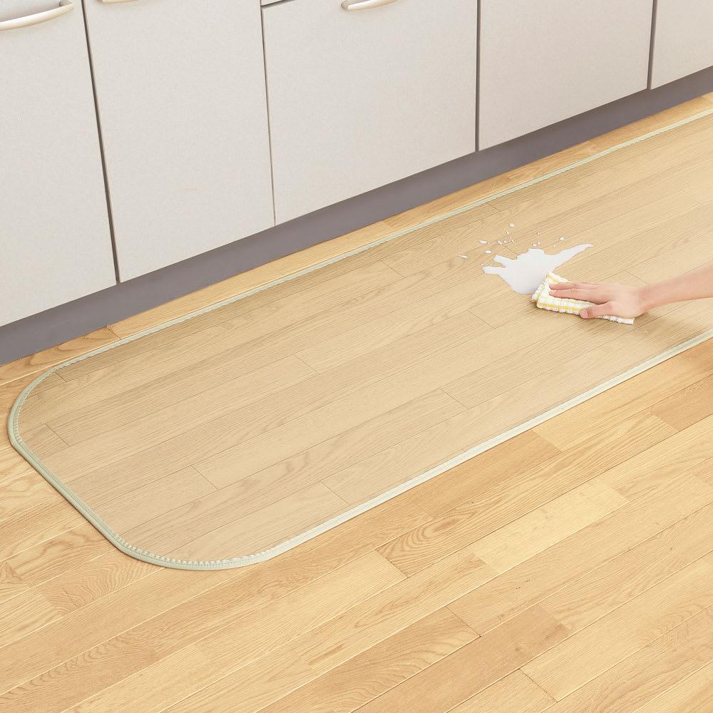 消臭加工フローリング調キッチンマット 幅45cm・幅60cm (エ)ライト