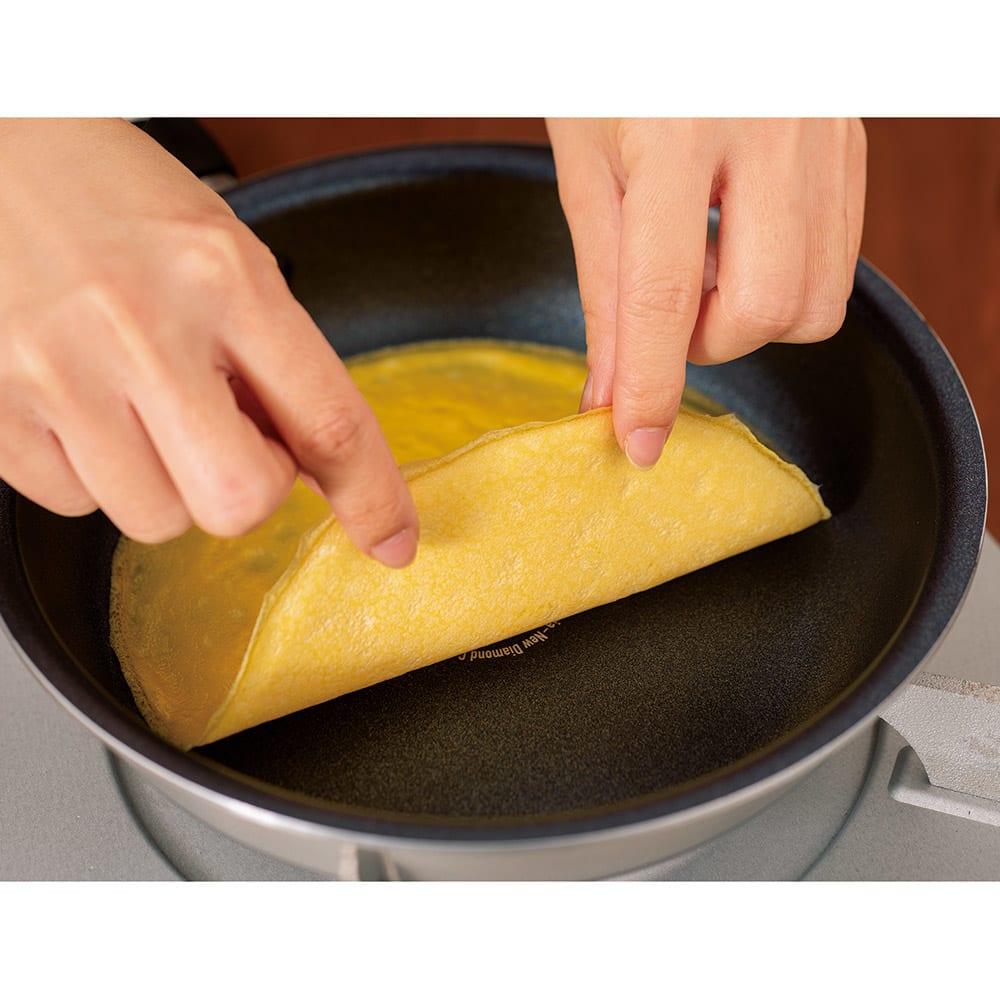 vitacraft/ビタクラフト オリビア 特別4点セット(深型24+フライパン20+無水フタ+蒸し板) すぐ破れる薄焼き卵もこの通り~!