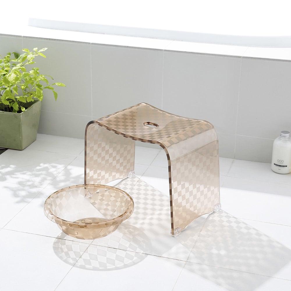 バスチェア大セット (アクリル製バスチェア&バスボウルセット) ブルーグレーケイ バスチェア・風呂いす
