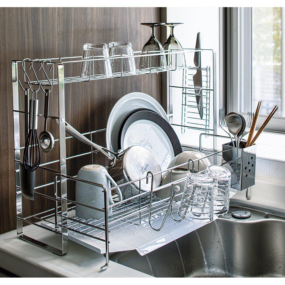 キッチン 家電 キッチン収納 水切り 水切りかご ラック フッ素トレイ付きスライド水切りラック 2段 デラックス 581221
