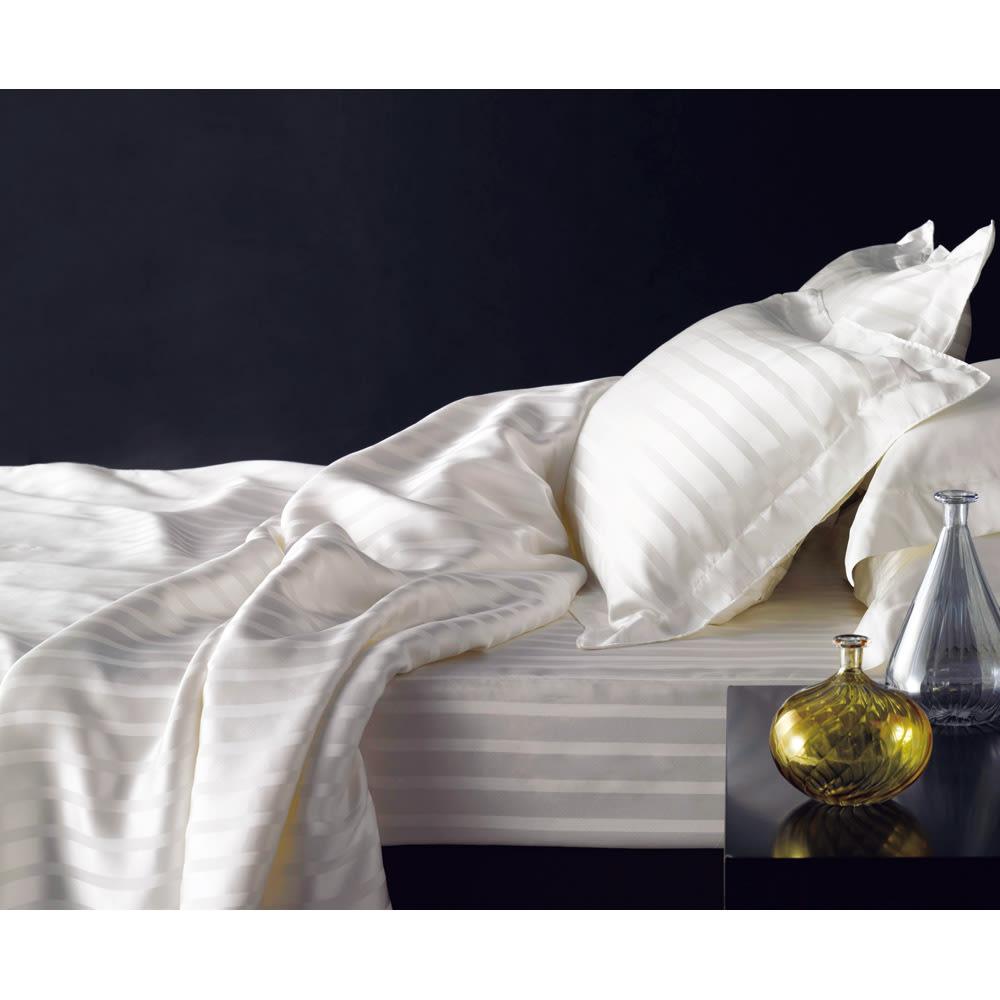 オールシルクサテン織りシーツ&カバー ボックスシーツ ホワイト クイーン ホワイト ベッドシーツ・ボックスシーツ