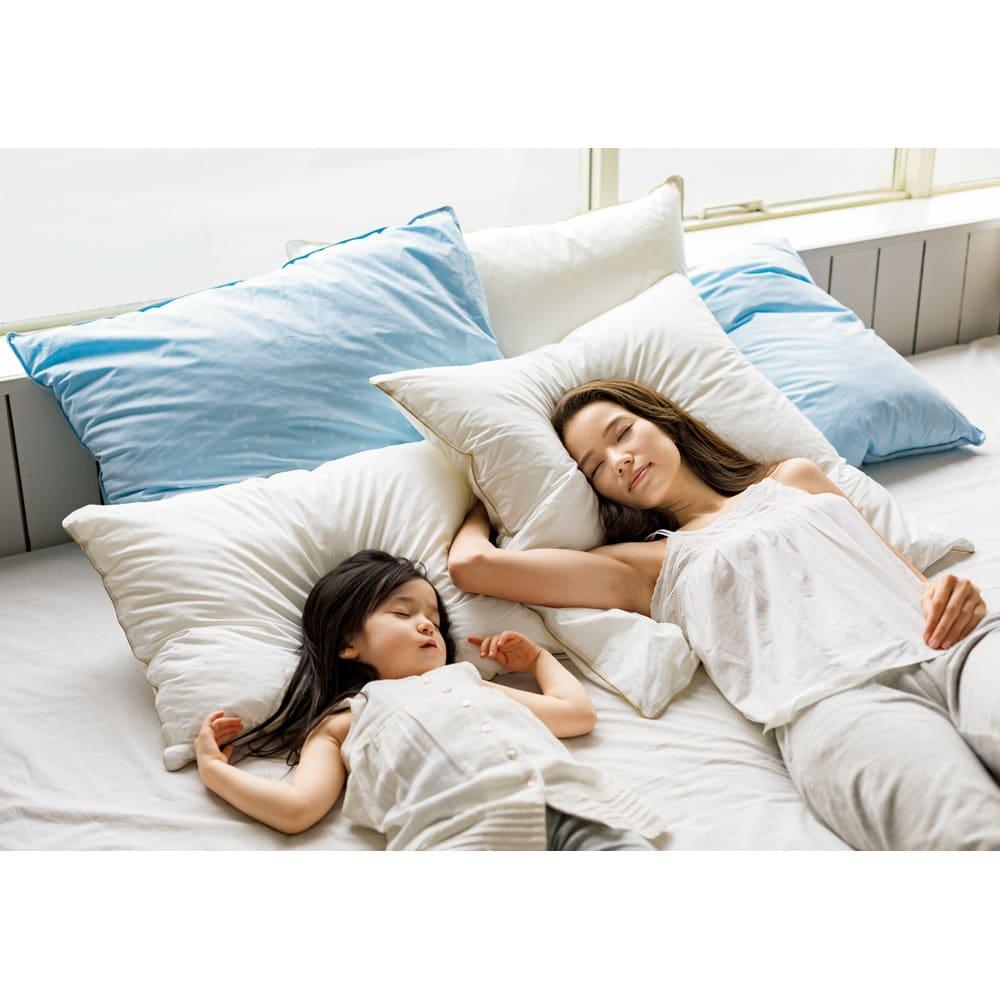 フォスフレイクス枕 クラシック&ロイヤーレ 枕のみ 大判2個セット (キ)ホワイト (ク)パウダーブルー 心も身体もふんわりほどける。