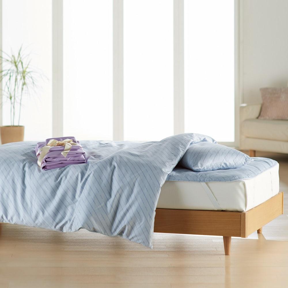 ベッド用ダブル8点(お得な完璧セット(布団+カバー)) (ア)ブルー/ラベンダー