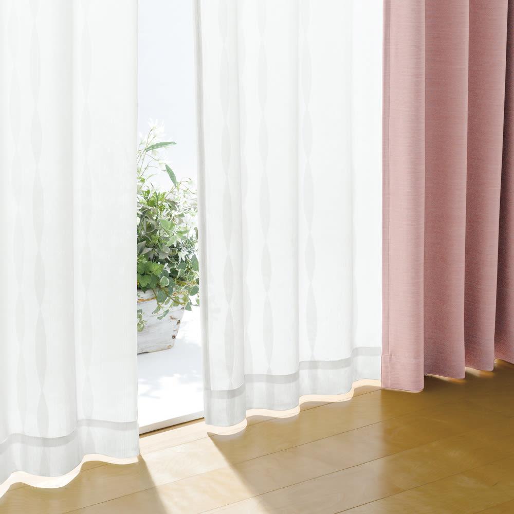 形状記憶加工多サイズ・防炎・UV対策レースカーテン 100cm幅(2枚組) (ウ)ウェーブホワイト ウェーブ柄
