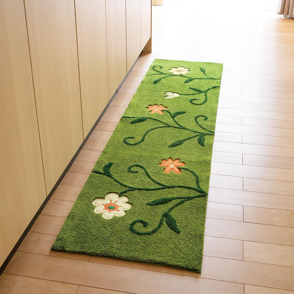 45×180cm(シビラ キッチンマット〈フラワーガーデン〉) グリーンケイ