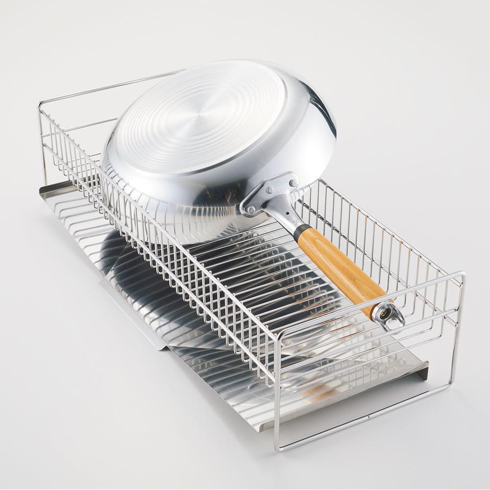 hanauta/ハナウタ 皿を縦にも横にも置ける水切り ロング ピンクゴールド 【従来品】フライパンが水切りを占領してしまいます。
