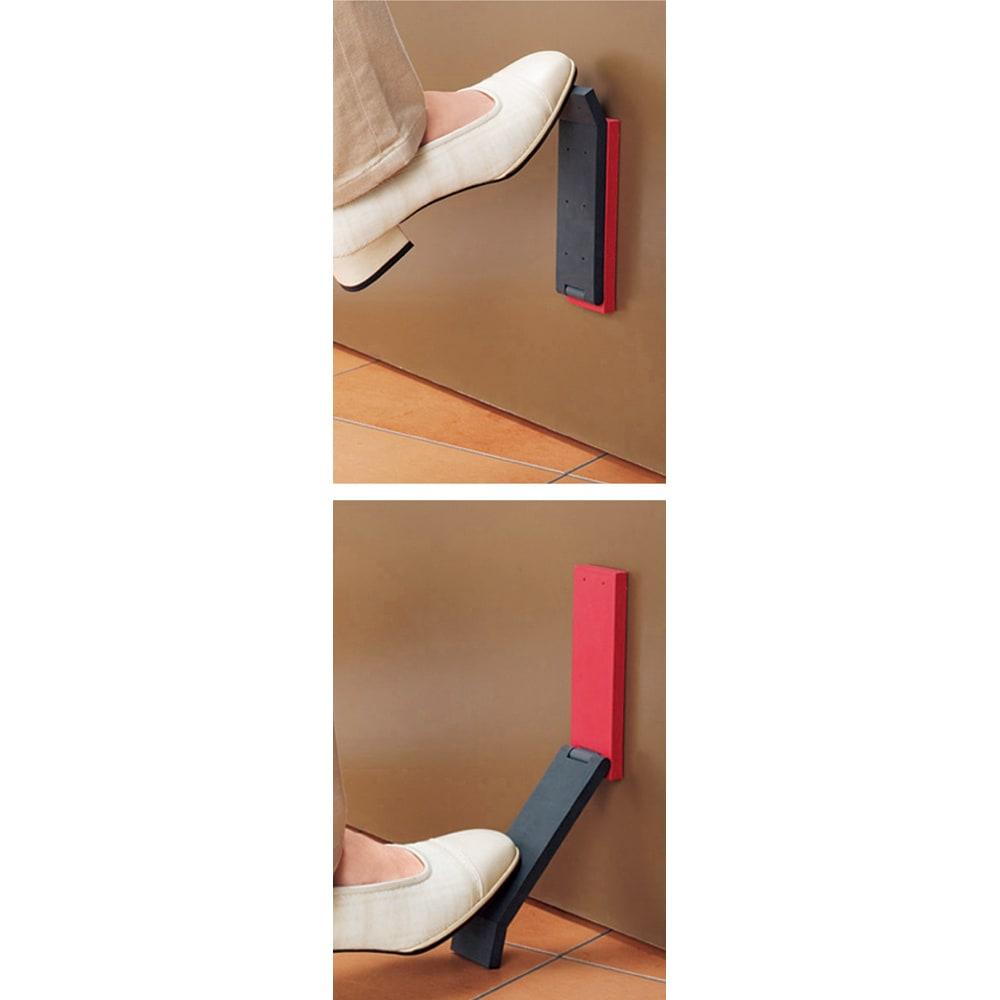tidy/ティディ ドアストップ 足をかけてパタンと開くだけ。ラバー製なのでドアや靴を傷めることなく、しっかりと固定できます。