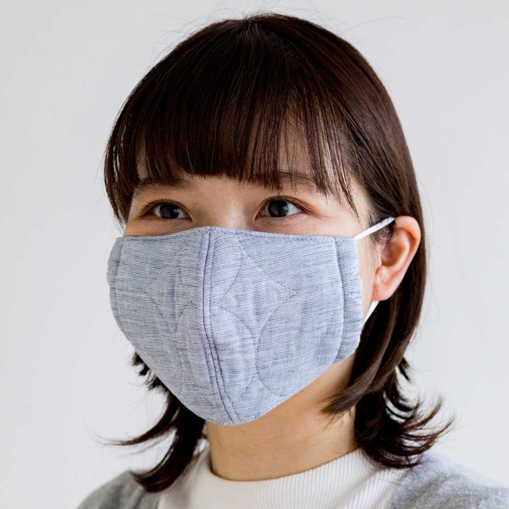 パシーマの生地でつくったマスク 大人用サイズ2枚組 (出来上がり寸約10.5×17.5cm) (イ)デニムブルー