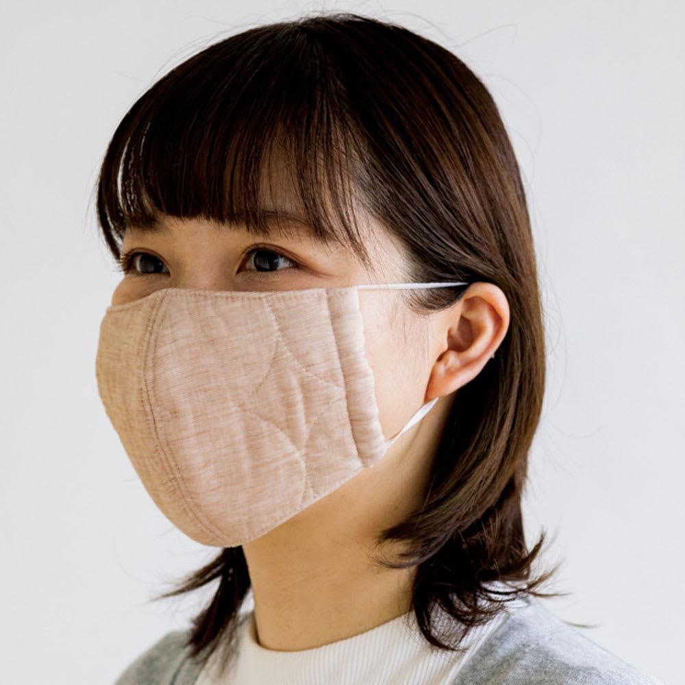 パシーマの生地でつくったマスク 大人用サイズ2枚組 (出来上がり寸約10.5×17.5cm) (ウ)ライトブラウン