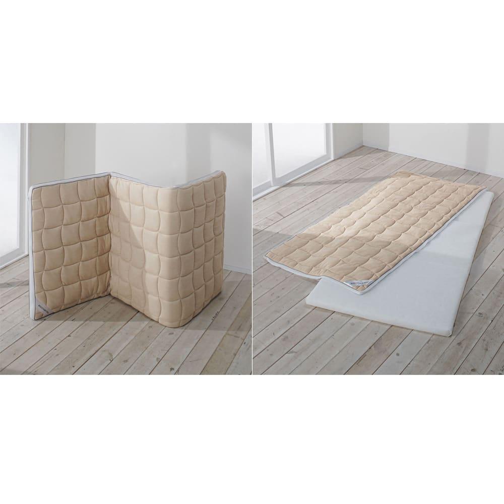朝が違う。敷布団の決定版!東洋紡ブレスエアー(R)敷布団 ネオ シリーズ 吸湿発熱パッド付き敷布団 立掛けるだけで簡単に放湿ケア出来ます。敷布団本体にはファスナーがついています。ファスナーを開き、側カバー部分は水洗いができます。*中素材(ブレスエアー素材)は洗えません。