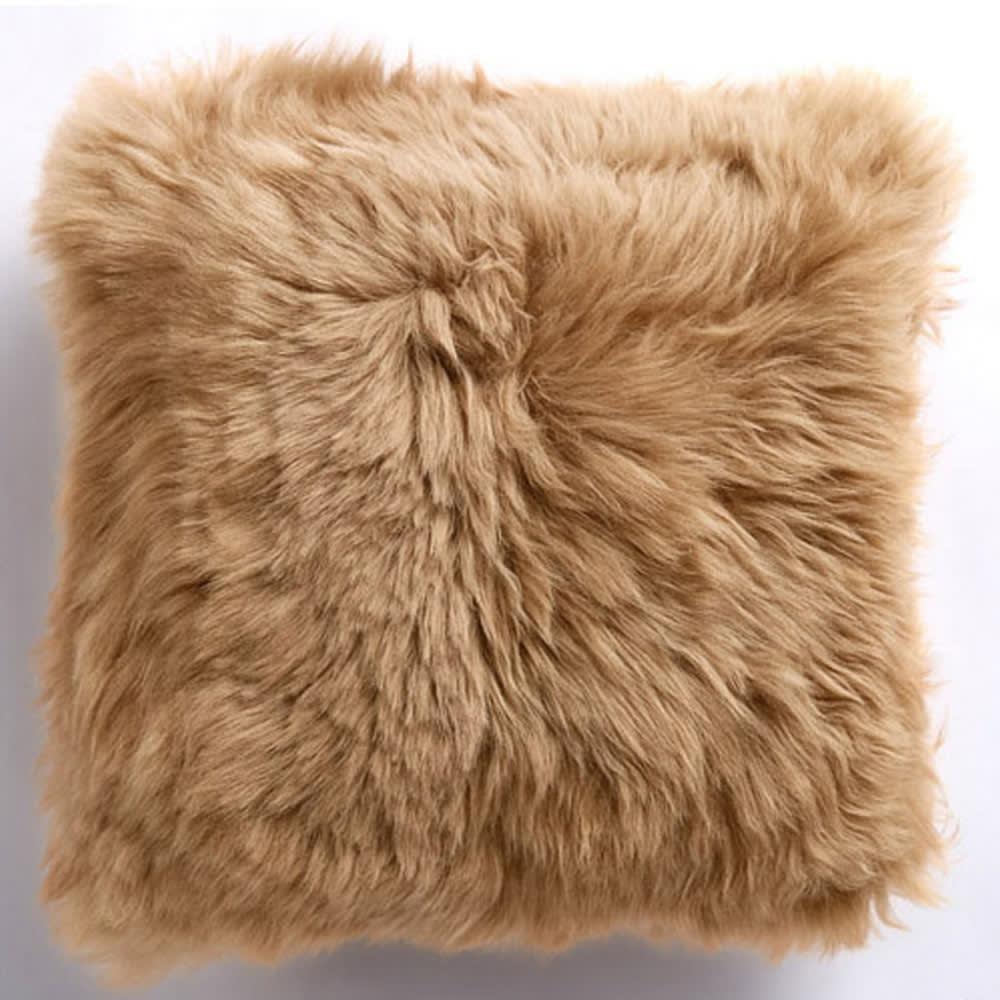 ムートン長毛クッションシリーズ シートクッション 四角形 約40×40cm 同色2枚組 (ウ)サンドベージュ