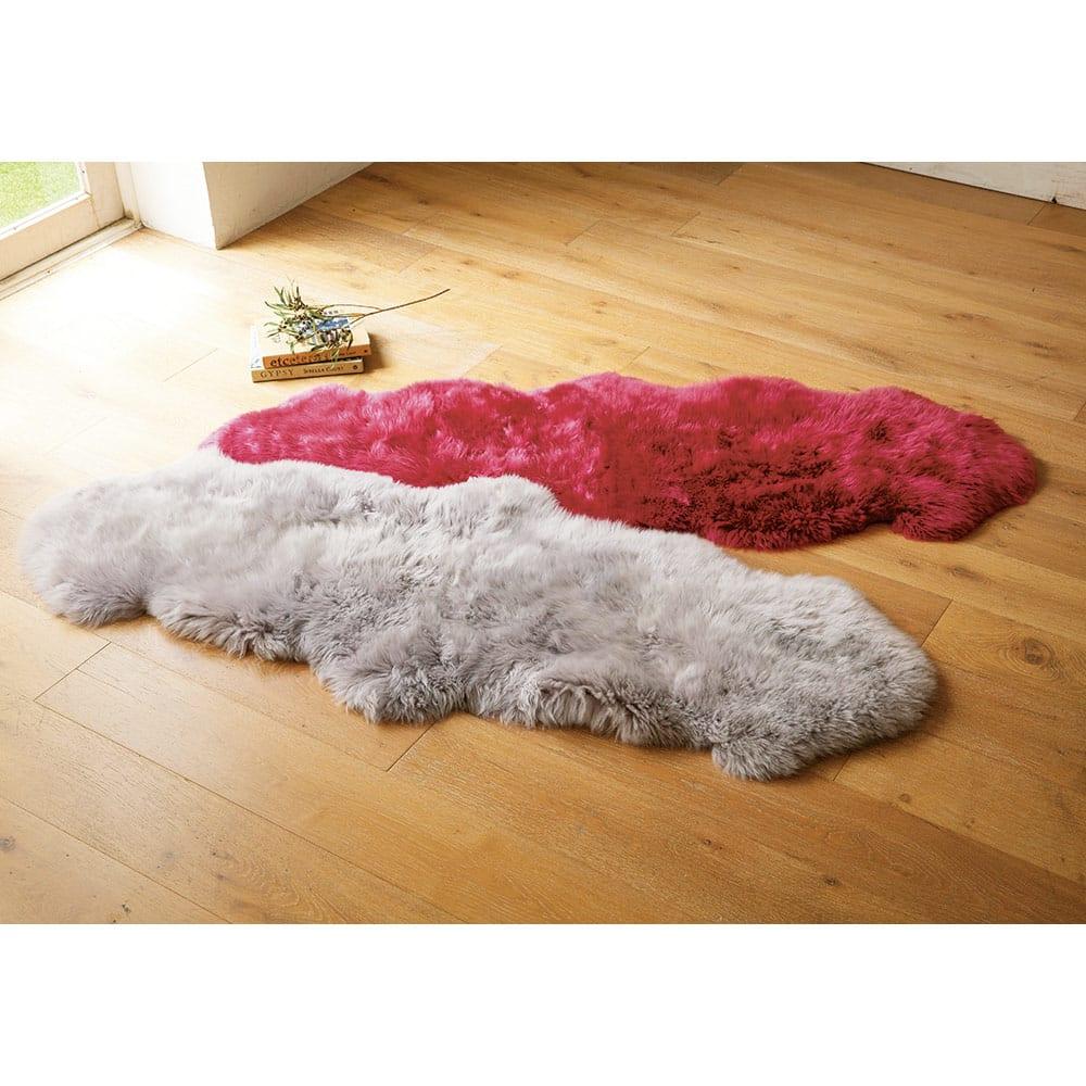 洗えるスプリングラム長毛ムートン 6匹物~10匹物 (ク)レッドローズ・2匹物(キ)ライトグレー・2匹物。