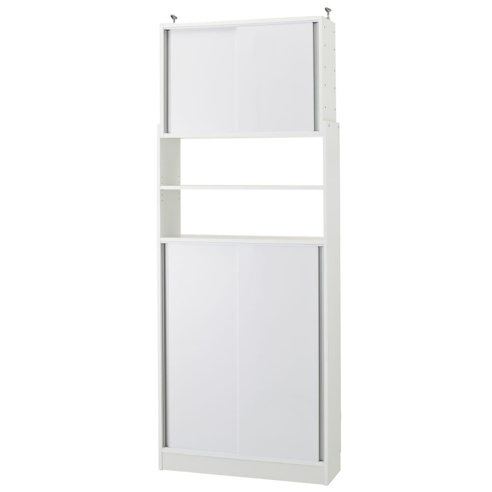 狭いキッチンでも置ける!突っ張り式 薄型 引き戸 キッチン収納 食器棚 奥行30cmタイプ 幅90cm 689814