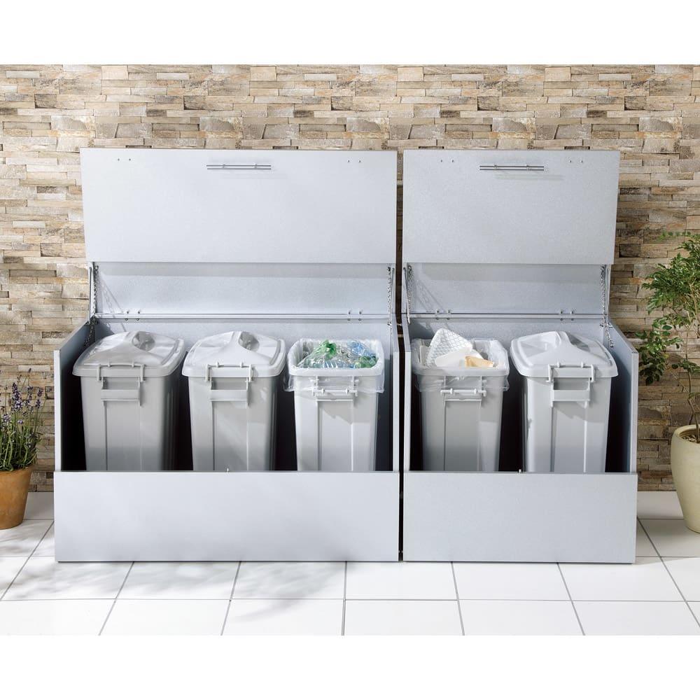 大きく開くガルバ製ゴミ保管庫 幅69奥行55cm ペール2個付き 684821