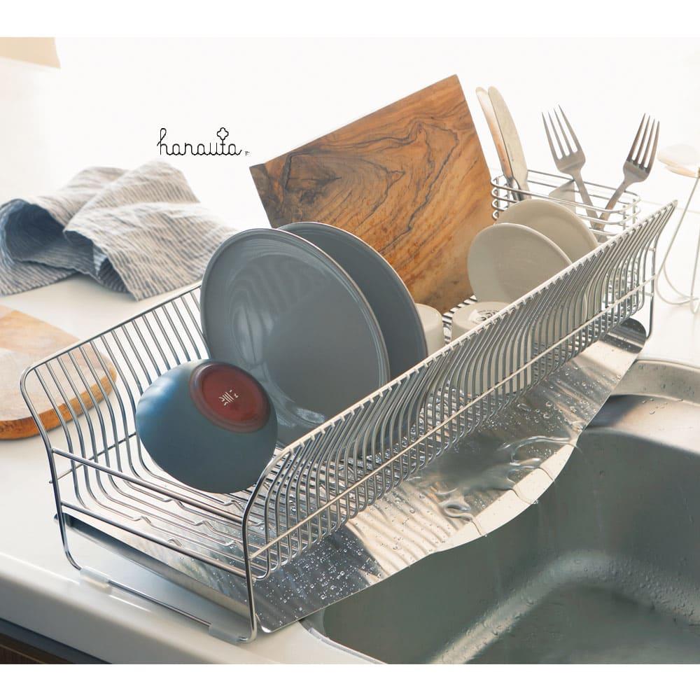 ハナウタ 皿を縦にも横にも置ける水切り ロングタイプ 685801