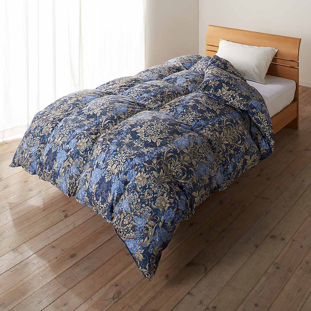 この価格スクープ級!! 5つ星ロイヤルバーゲン寝具 お得な掛け+敷きセット (ア)ネイビー