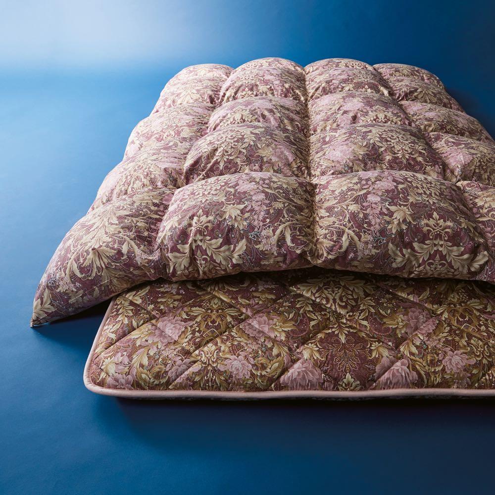 この価格スクープ級!! 5つ星ロイヤルバーゲン寝具 羽毛布団2枚組 シングルロング ワインレッド ※お届けは羽毛掛け布団です。