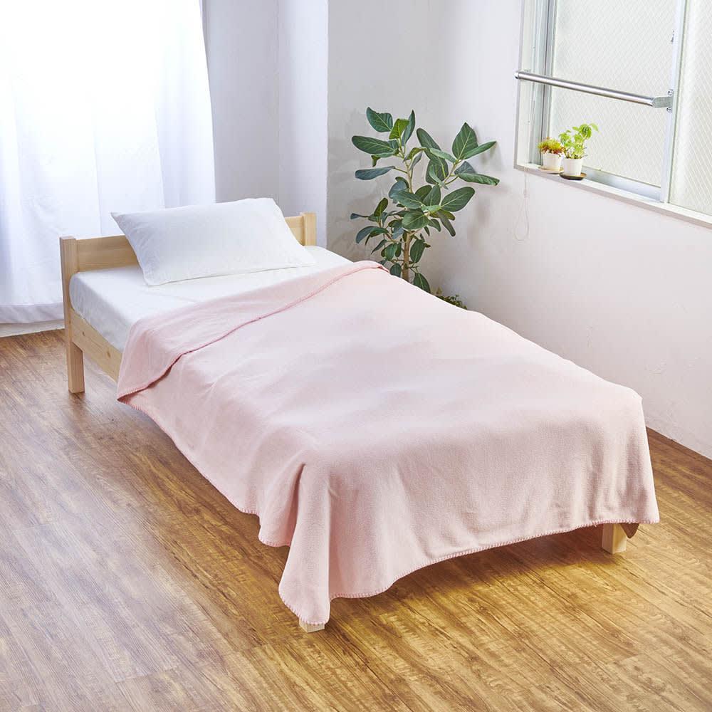発熱するコットン「デオモイス」寝具シリーズ フランネルニットの2枚合わせ毛布 (イ)オールドローズ ※実際よりも若干色が薄くうつっています。色は、モデルカットを参照にしてください。