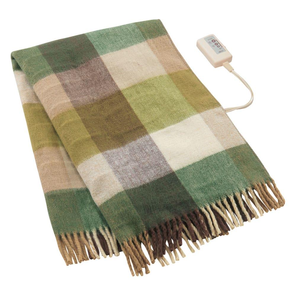 洗えるカラフルチェック電気ブランケット(電気毛布) 82×140cm (エ)グリーンチェック