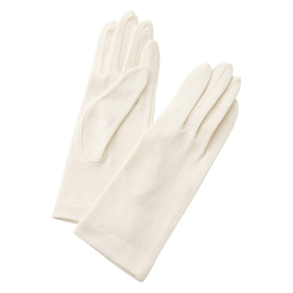 就寝用裏シルクうるおい手袋2点セット (イ)アイボリー