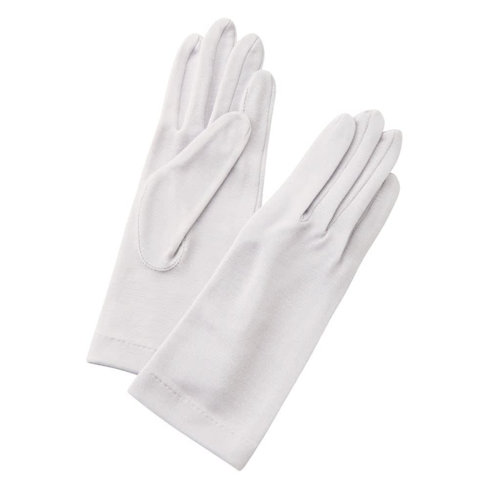 就寝用裏シルクうるおい手袋2点セット (ウ)グレー