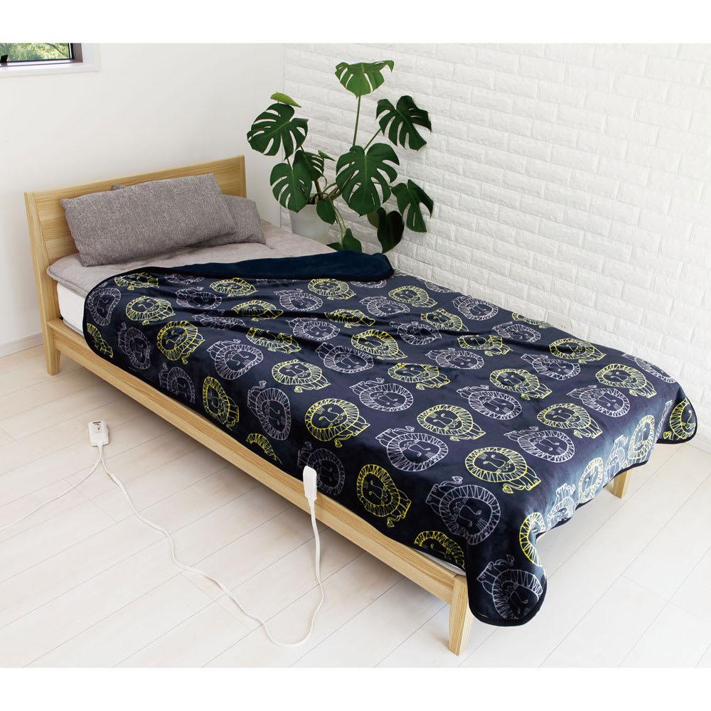 LISA LARSON/リサ・ラーソン電気毛布シリーズ 電気敷き毛布 (イ)ネイビー(ライオン) ※画像は掛け敷き毛布です。お届けは敷き毛布となります。