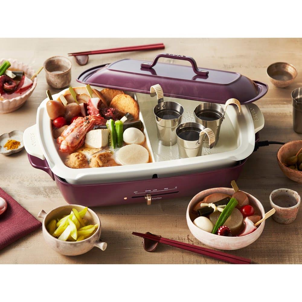 BRUNO/ブルーノ ホットプレート グランデサイズ ウ)使用イメージ 内側に入っている仕切り付きの白いお鍋は別売りです。