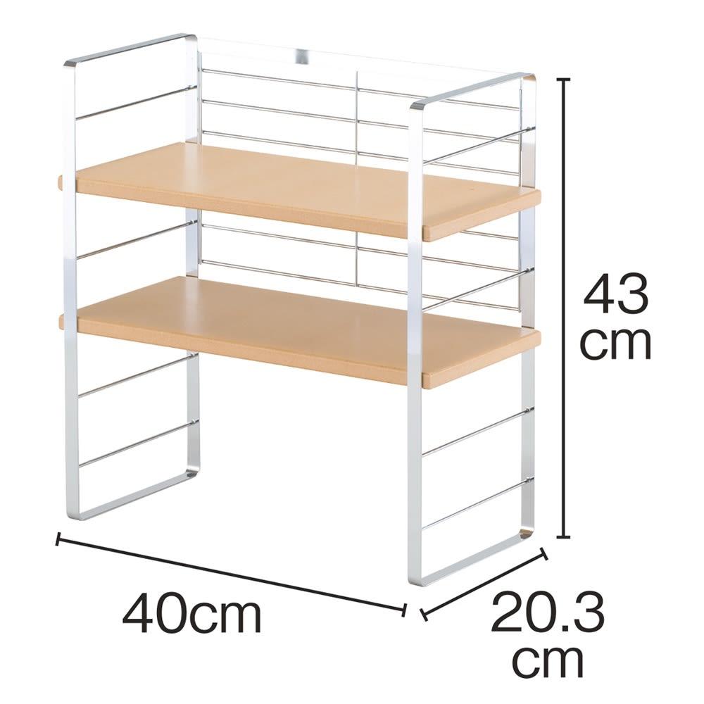 木棚出窓ラック 幅40 上段には、後ろに物が落ちることを防止するバックネット付き