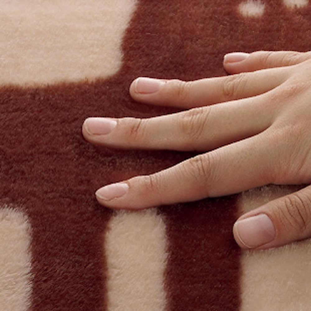 ホットカーペットカバー「エルク」 洗えるタイプ (イ)素材アップ やわらかい肌触りです。
