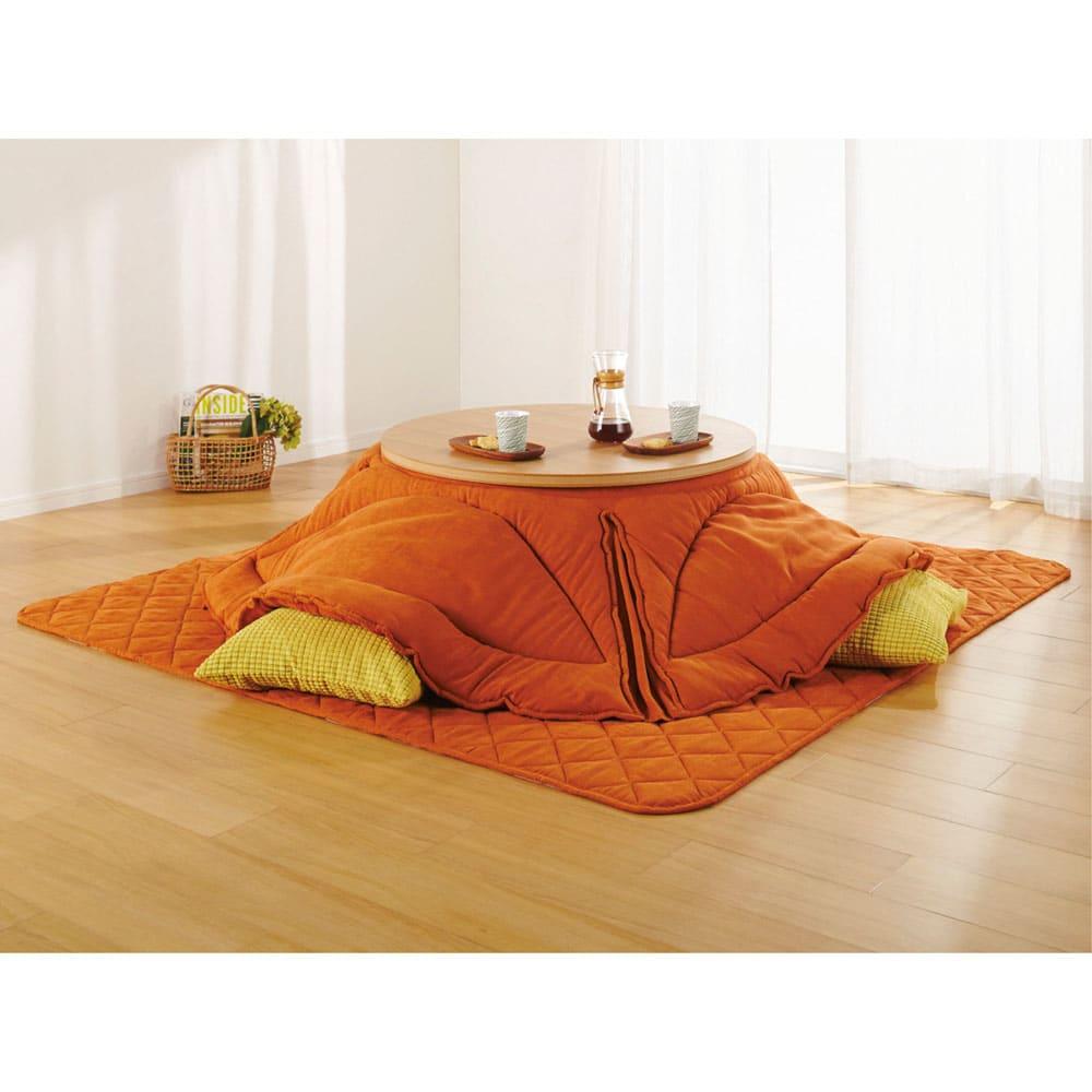 はっ水・消臭・抗菌 ふっくら贅沢ボリューム 省スペースこたつシリーズ こたつ敷き(厚さ約1.5cm) こたつ敷き正方形(オ)オレンジ