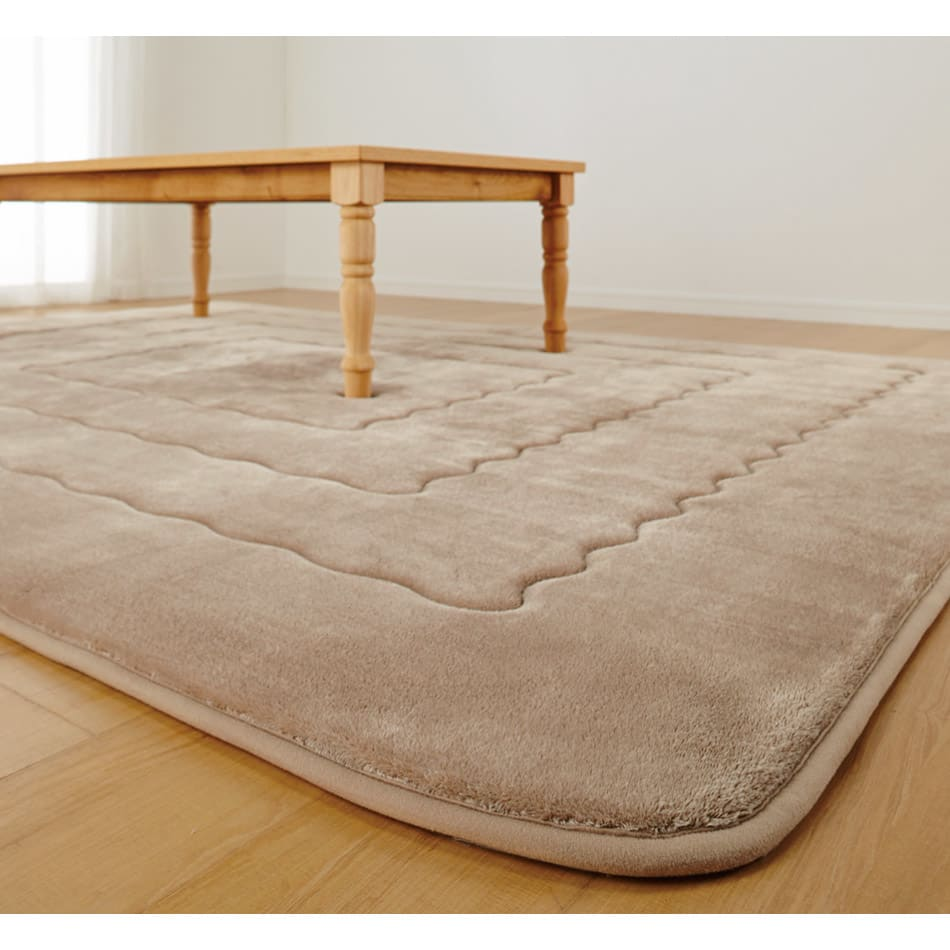 シアバターとろふわこたつ掛けカバーシリーズ こたつ敷き(厚さ約2cm) (ア)モカベージュ ※写真は長方形タイプです。