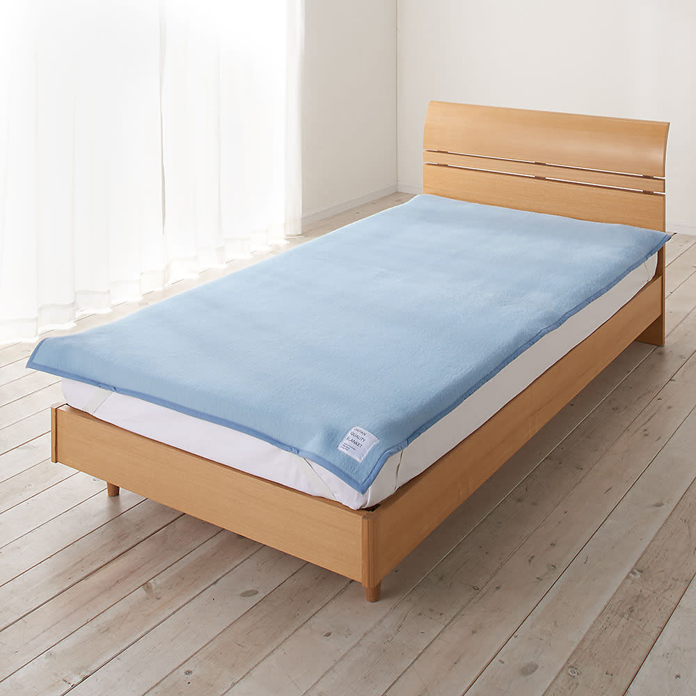 シルクのような光沢となめらかさ プレミアムベビーアルパカ敷き毛布 (イ)グレイッシュブルー