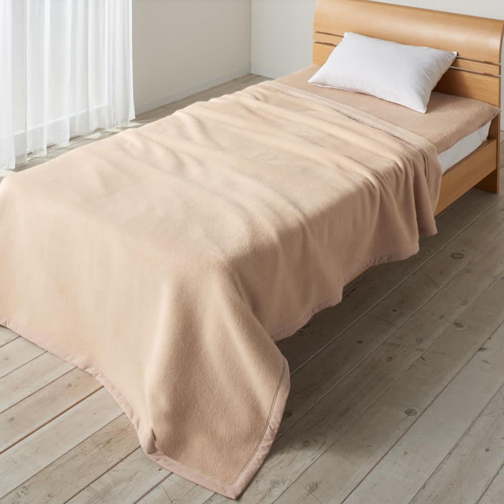 シルクのような光沢となめらかさ プレミアムベビーアルパカ敷き毛布 (オ)ベージュ(WEB) ※お届けは敷き毛布です。