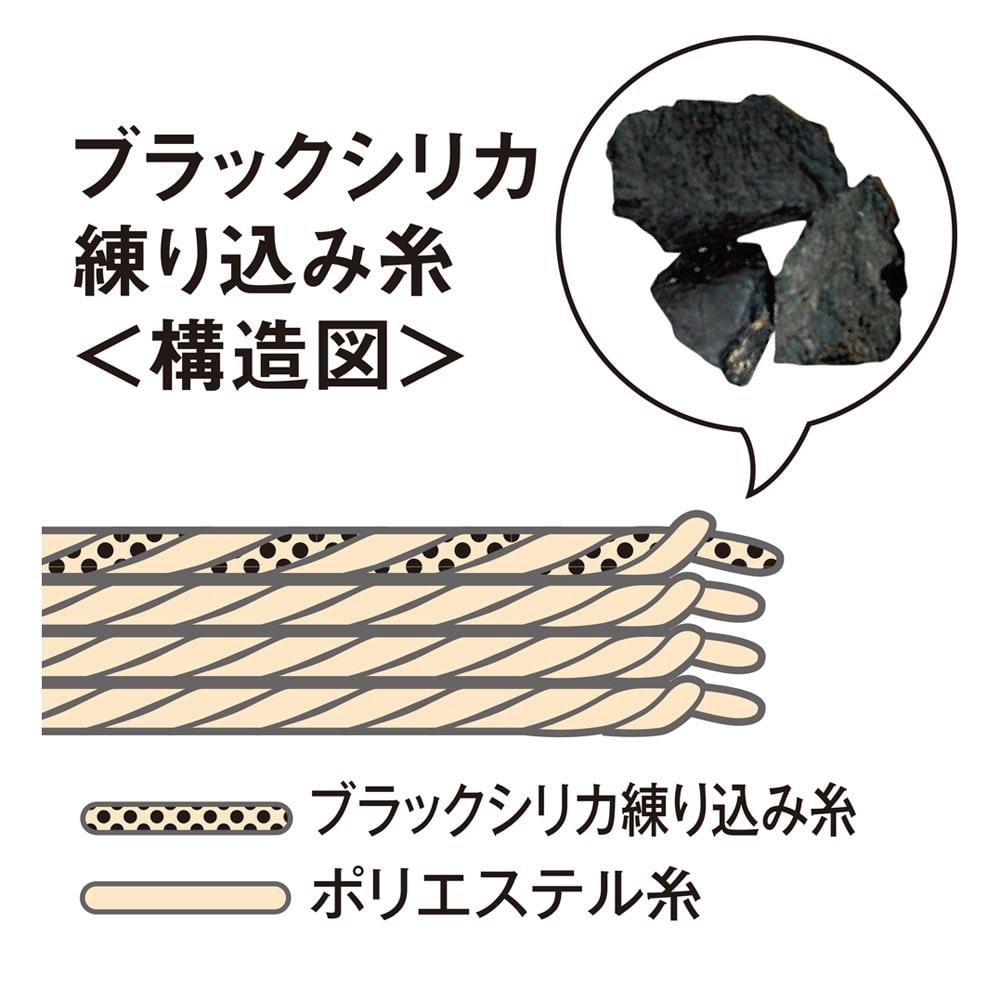 ロマンス岩盤浴シリーズ ボア敷きパッド 岩盤浴と同じ天然鉱石「ブラックシリカ」 岩盤浴にも使われている天然鉱石「ブラックシリカ」を練り込んだ糸が遠赤外線を放射。じんわり暖か!