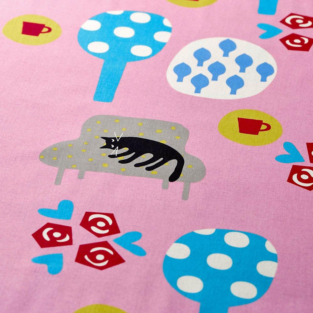 【アツコマタノ/ATSUKO MATANO】掛けカバー シングルサイズ 夢見る猫 ピンク生地アップ