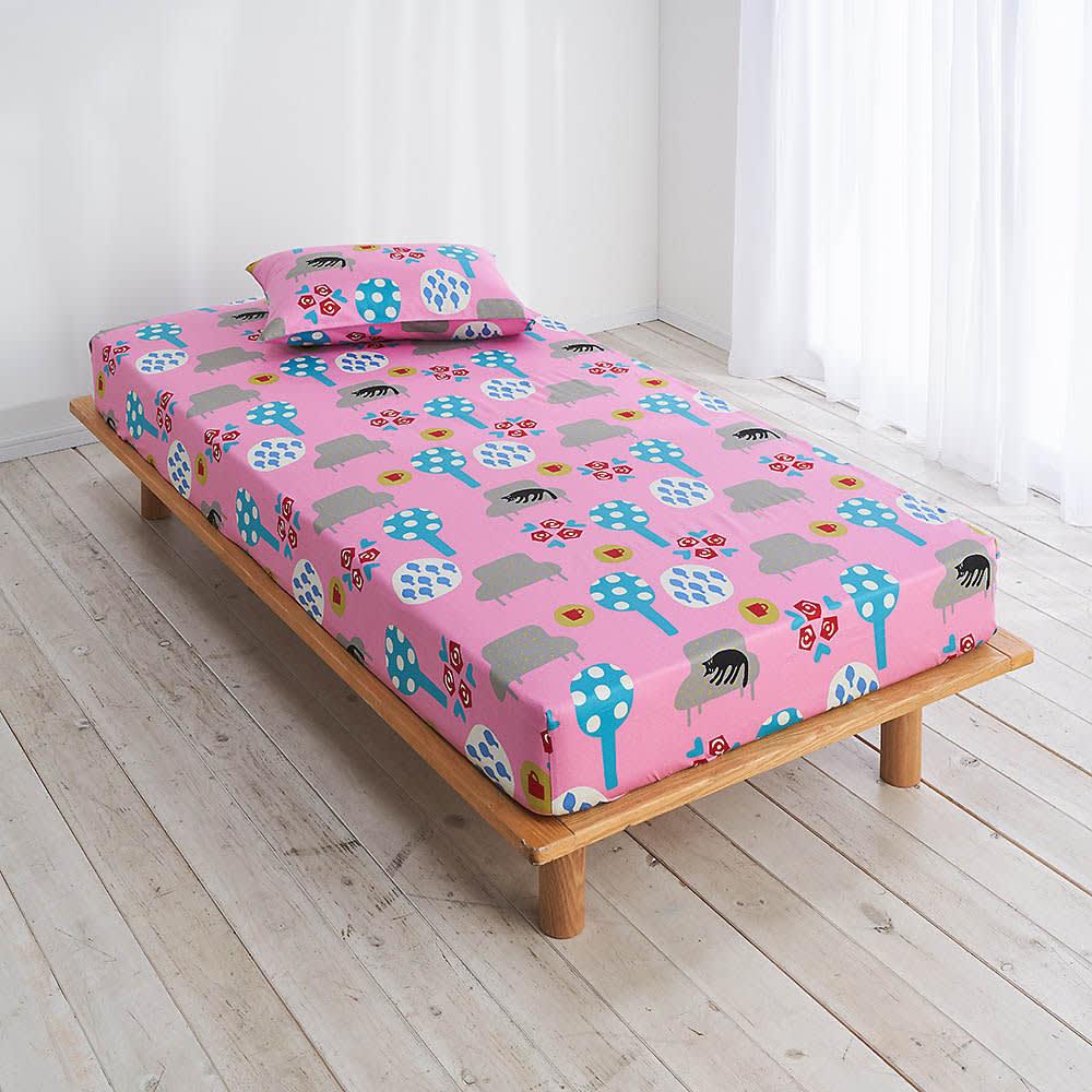【アツコマタノ/ATSUKO MATANO】クイックシーツ シングルサイズ 夢見る猫 ピンク ※お届けはフィットシーツです。