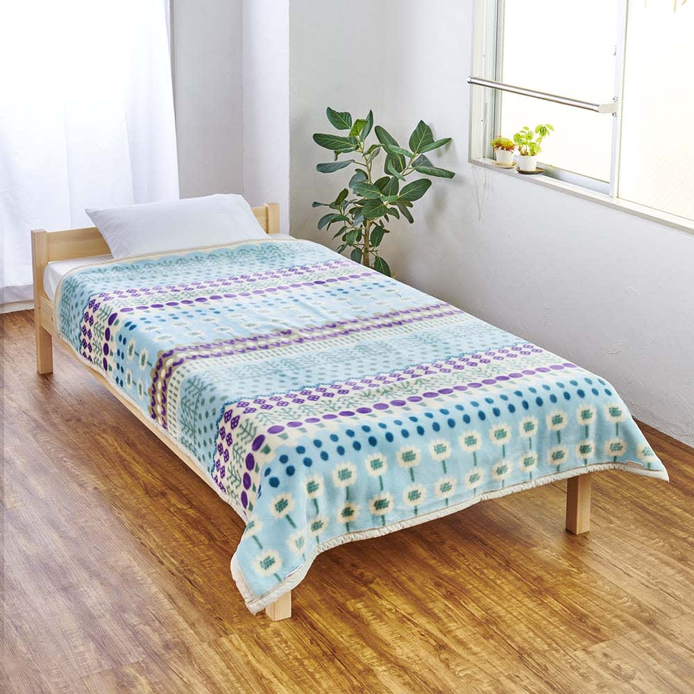 ATSUKO MATANO/アツコマタノ ニューマイヤー毛布 スペインの庭 (ア)ブルー