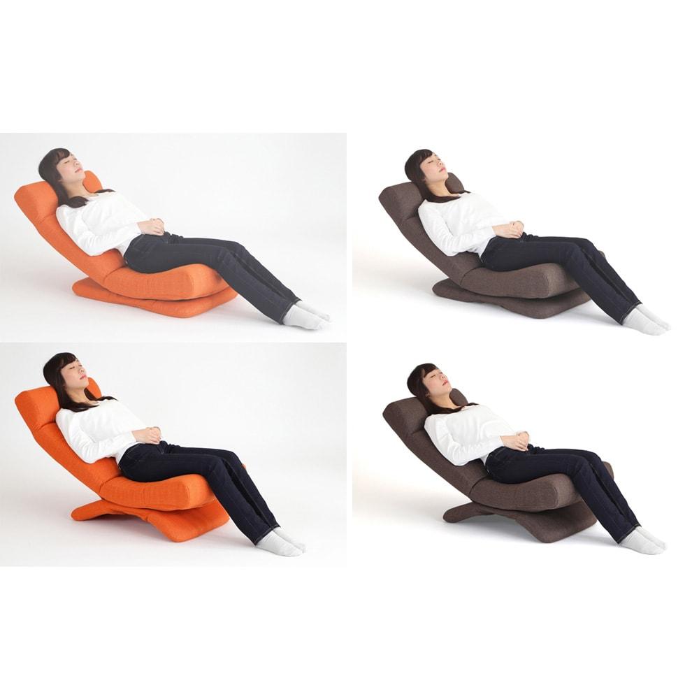 GOOD DESIGN受賞 ZAGUN フレックスチェア 本体は頭部、背もたれ、脚部を適度にリクライニングした状態。上は台座部の後方を一番立てた前傾の状態。下は台座部の前方を一番立てた後傾の状態。