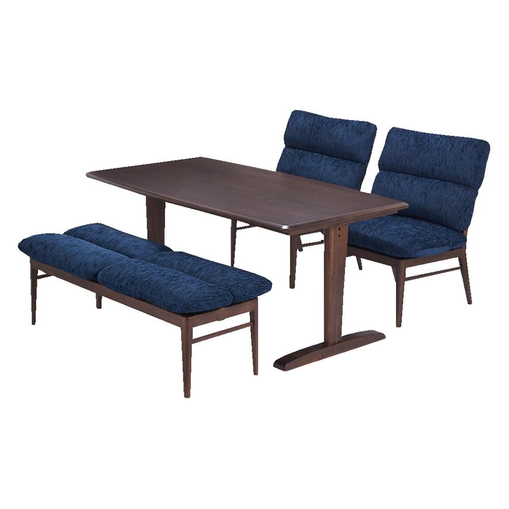 包まれる座り心地のリビングダイニング ダイニングセット お得な4点セット テーブル+チェア2脚組+ベンチ (エ)ダークブラウン/ブルー