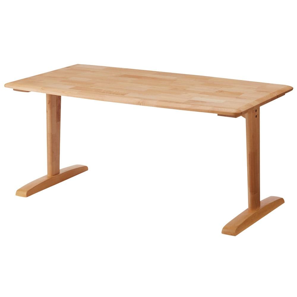 包まれる座り心地のリビングダイニング テーブル (ア)ナチュラル テーブルの脚が4本の場合、立ち上がる時や座る時にテーブルの脚に当たってしまうことがありますが、このテーブルは脚が2本のため、脚が邪魔にならず立ち座りが楽にできます。