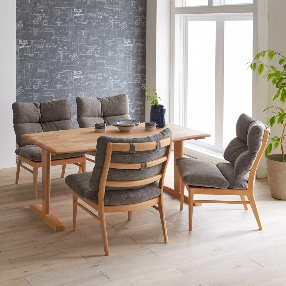 包まれる座り心地のリビングダイニング チェア・ベンチ チェア2脚組 コーディネート例 まるで北欧のインテリアのような柔らかで心地よい空間を演出します。 ※お届けはチェア同色2脚組です。