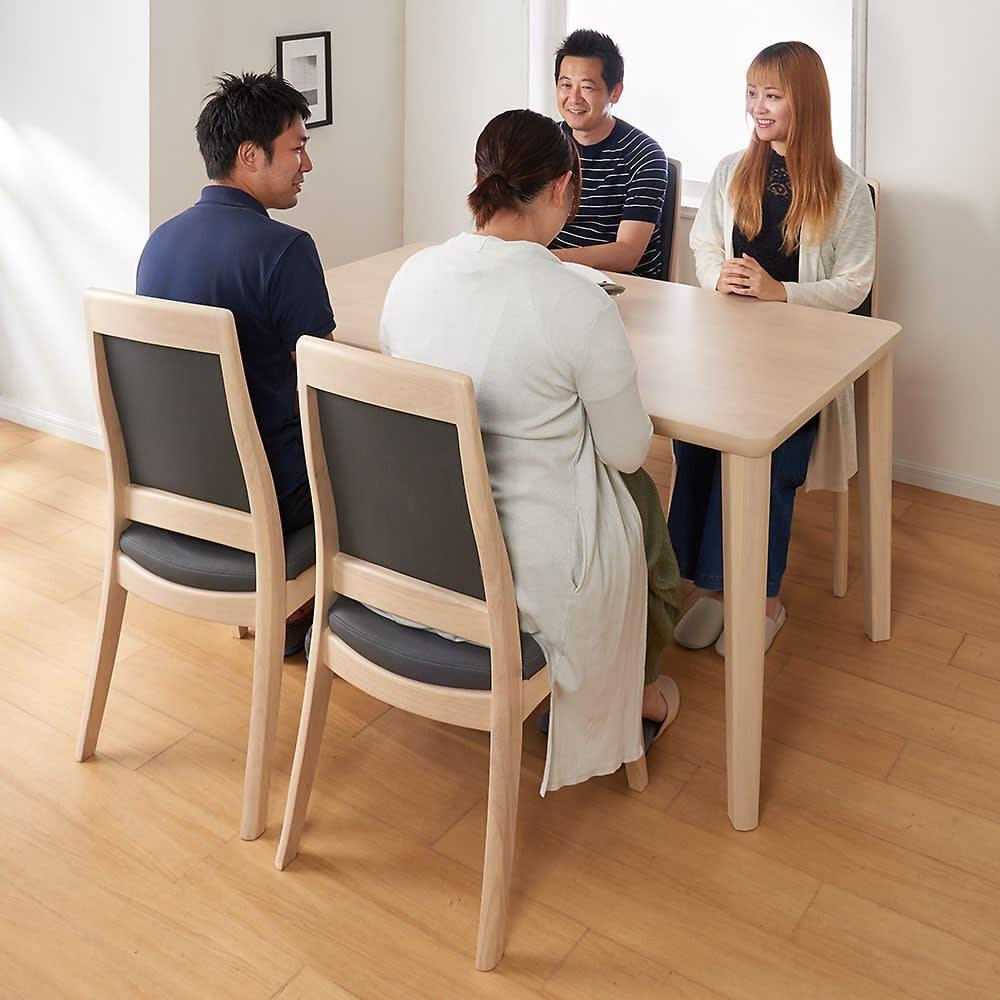 ハイバックモダンダイニング テーブル 4本脚 幅125奥行75cm 726828